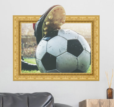 3d Voetbal visueel effect muurzelfklevende sticker ontwerp waarmee je je huis wilt versieren om je blij te houden met je sport. Eenvoudig aan te brengen ontwerp.