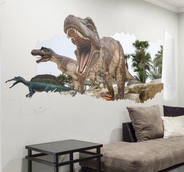 Ein jurapark mit visuellen effekten von dinosauriern, mit dem sie ihr zuhause dekorieren können. Dieser entwurf ist einfach anzuwenden und sie können die größe wählen.