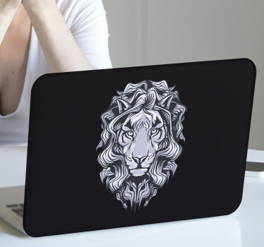 A black sketched huge lion face laptop skin that you can also use for tablets. All you have to do is choose the size. It is easy to apply on surface