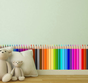 διακοσμητικό βινύλιο τοίχου για παιδιά που έχει δημιουργηθεί με διαφορετικά πολύχρωμα μολύβια για το παιδί σας. Αυτός ο σχεδιασμός είναι εύκολο να εφαρμοστεί.