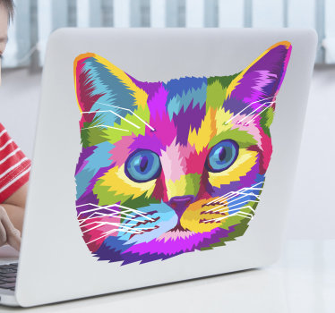 A laptop decal that is created of cat in very beautiful multi colour that you just want to use on your gadget. Easy to apply design.