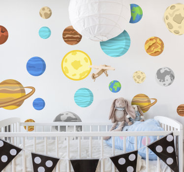 Kids bedroom wall sticker design of space planet in very beautiful and attractive  colour that you will love. The design is easy to apply .