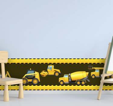 Wall boarder sticker  design of  digger sets that you can decorate your home with ,to created a well defined surface. This design is easy to apply .