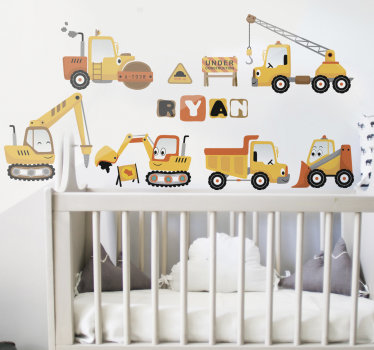 A colourful pack of digger set that you can customise the name of your child on to beautify the bedroom. This design is very easy to apply on surface.