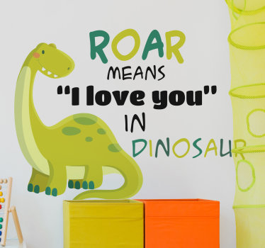 Children animal illustation wall sticker of a dinausaur with beautiful text in colours that will be beautiful to decorate baby's room. Easy to apply.