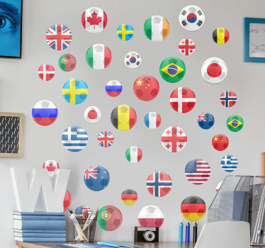 Football  wall art decal that is created with dots design of country flag that  will beautify your  home. You can apply it in he iving room or bedroom.