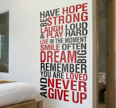 Motivational wall decal created with text in red and black colour that will beautify your home and keep you inspired at all time.Easy to apply design.