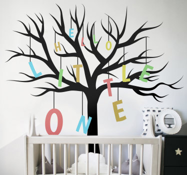 Tree plant wall sticker for children's room that you will love. This design contains a tree and baby welcome text. You can choose the size you prefer.