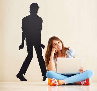 Adhesivo de música, con el perfil del famoso cantante Michael Jackson. El rey del pop, haciendo uno de sus múltiples y conocidos pasos de baile.