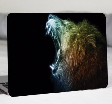 Vinilo para laptop con un león rugiendo. Este diseño es muy colorido y le encantará en su portátil. Fácil colocación ¡Envío a domicilio!