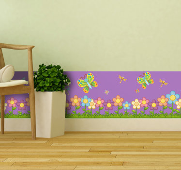 A decorative spring flower border sticker with butterfly in colours that will be beautiful to decorate your your home.Easy to apply design.