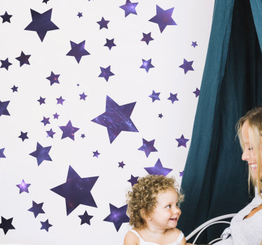 Space wall decal with stars for kids that you can decorate the room of your child and make them happy. This design can be in the size of your choice.