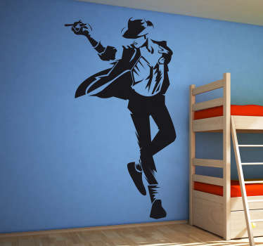 Een muursticker van Michael Jackson tijdens het dansen. De fans onder ons willen deze wandsticker vast in hun slaapkamer hebben ophangen.