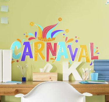 Diseño de vinilo para pared de carnaval de aspecto colorido con bonitas características que te encantarán en tu pared. Fácil de aplicar sobre una superficie plana.