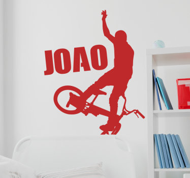 Naklejka ścienna z rowerem bmx, którą możesz mieć w wybranym kolorze i rozmiarze. W łatwy sposób przykleisz do ściany!