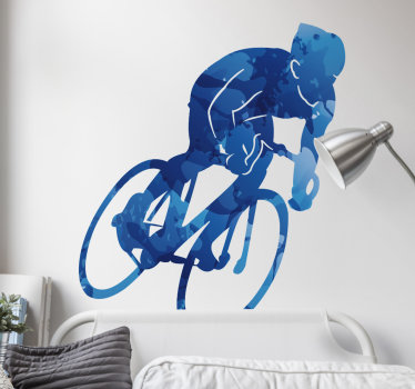 A bicycle sport cycling decal created with a person riding on a bicycle in speed. This design will create a real life appearance on your wall surface.