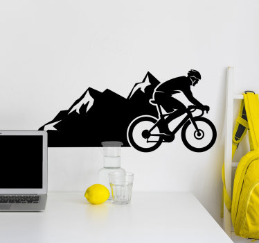 A sport cycling vinyl  decal that is created with a person riding up the mountain. This design is very easy to apply and you will love it in your home.
