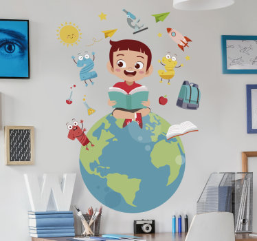 An illustration educational wall decal for kids bedroom.This design is created with the world and a kid sitting on it and many more features to learn.