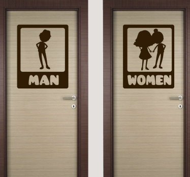 Funny wc toilet door sticker design of an animated image of a man and a woman. This design can be used in the public and also at home. Easy to apply.
