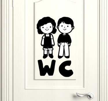 A  toilet door sticker for kids that is design with the animated image of a little boy and a girl. This design can be used at home or public services.