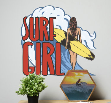 A girl surfer wall sticker with a girl and her surfing board and the text that say '' surfing girl. This design will be nice to have in the home.
