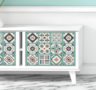 Decorative tile textural patterned sticker design created with multiple shape style that you will love on the surface of your furniture.