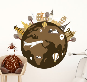 An illustration children sticker of a world map design created with map on a round circle with an aeroplane revolving around it. Easy to apply design.
