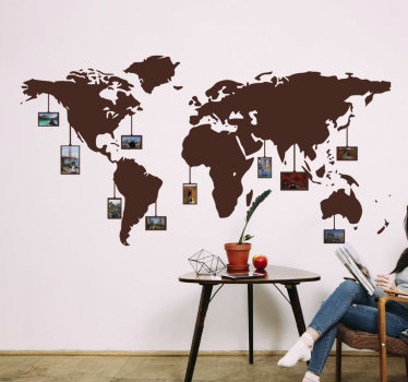 Decorative world map decal with photo space for your family. This design is very beautiful and will be nice on the wall with your family photos on it.