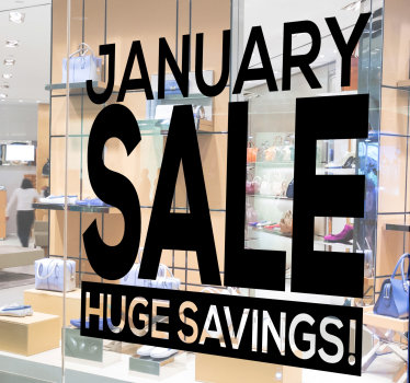 A shop window decal for business sales that will help announce to your customer that they can save huge when they buy from you. Easy to apply design.