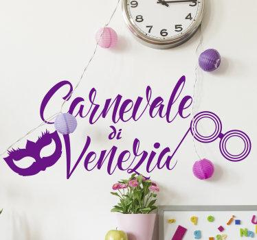 Questo fantastico adesivo del carnevale di Venezia è l'ideale per preparare i tuoi locali di casa o la vetrina del tuo negozio a questa magica festa!