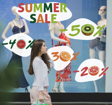 Shop front window decal for summer sales. This design is created with very colourful looking  style with fruits. Easy to apply design.