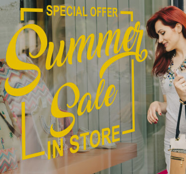 Shop window decal for summer sale that is created with beautiful colour and text style that you will love. This design is easy to apply.