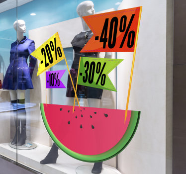 Shop front window decal for sales, designed with watermelon and text that shows the percentage of your sales  offer. East to apply design