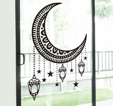 An ornamental window decal of an Arabic abstract that you will love and appreciate it appearance on your window surface. You can chose any size.