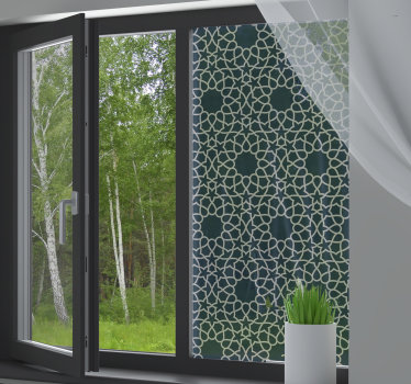 An ornamental decorative Arabic pattern window sticker to cast a unique beauty on your window that you will admire in your home. Easy to apply design.