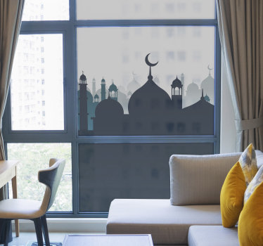 A decorative Arabic ornamental window decal to create beauty and uniqueness that you will admire at all time on your window. Easy to apply design.