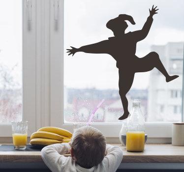 Een decoratief raam zelfklevende sticker van piet silhouet dat u zult bewonderen en bewonderen op uw raamoppervlak. Eenvoudig aan te brengen ontwerp.