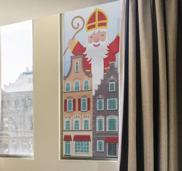 Decoratief vinyl raamzelfklevende sticker van de kerstman met een groot huis waarmee je je raamoppervlak graag wilt versieren. Dit ontwerp is eenvoudig aan te brengen.