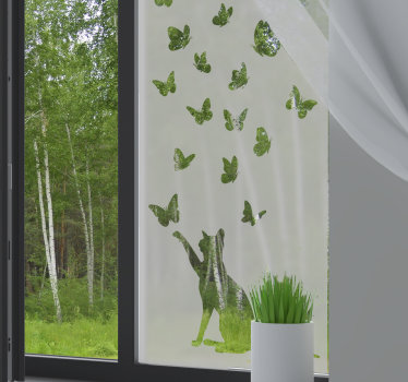 Translucent butterfly window sticker with a cat that you will love to apply on the surface of your window. This design is easy to apply.