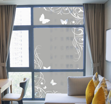Butterfly window sticker with flower that will be nice to beautiful your window surface. This design is easy to apply and you can chose the size.