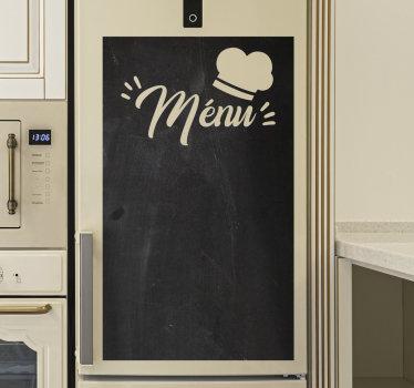 Use e aproveite nosso vinil autocolante decorativo quadro-negro para organizar os pratos que deseja fazer.