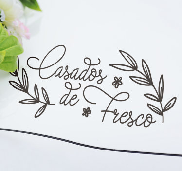 "Vinil autocolante decorativo de casamento para carros ""Casados de Fresco"" a ideal de decorar o carro dos noivos!"