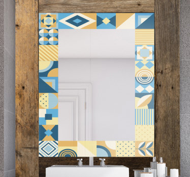 Easy to apply decorative mirror frame decal created in tiles style in multiple shapes and colour that you will love. Chose your preferred size.