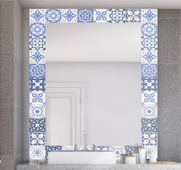 A decorative mirror decal created in an ornamental tile design that you will love to apply on the surface of your mirror .