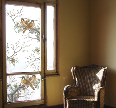 Easy to apply window decal created with trees with branches and birds on it in beautiful colour to decorate your window.