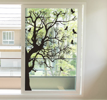 Easy to apply window decal created with a tree with branches and birds on it. You can have the design in any colour you prefer.