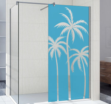 Easy to apply decorative shower screen decal design of palm tree that you can have in any other colour to beautify the surface of your shower door.