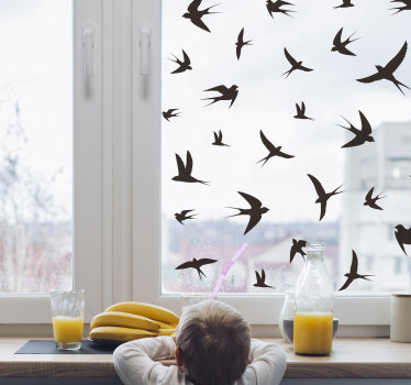 Easy to apply window decal created with birds and you can have this design in any other colour and size that you prefer.