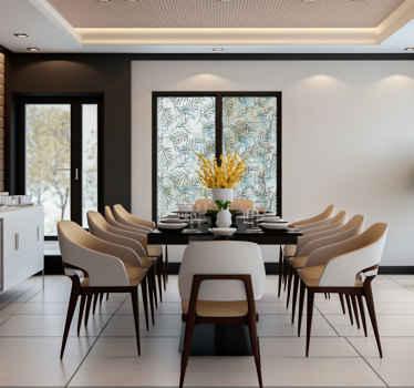 Vinilo de ventana fácil de aplicar creada con flores de plantas en un estilo translúcido que te encantará. Solo elige el tamaño que prefieras.