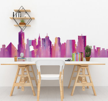 Easy to apply city skyline silhouette wall sticker of Mumphi in colourful style that you will love to decorate your living room or bedroom.